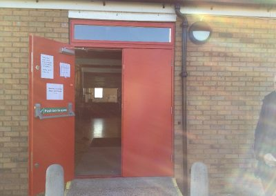 Double Red Fire Exit Doors