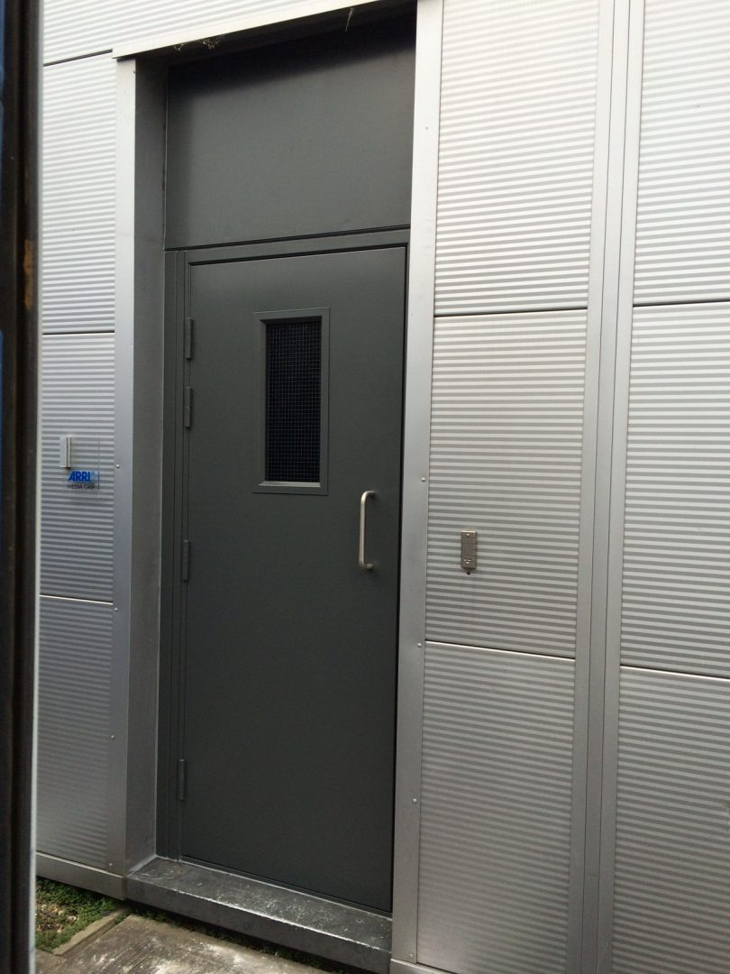 Grey Steel Door With Window